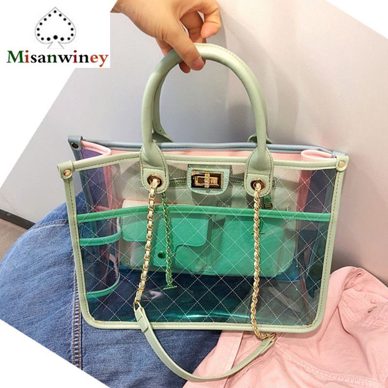 Ins Hot Famous Brand PVC Women Tote Bag Clear Jelly Transparent Big Bag Large Lady Handbags Female Beach Bag Chain Shoulder Bags