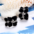 Trendy Black Flower Earrings hoop Platinum Plated with Cubic Zirconia Exquisite Fashion Model women's Jewelry Earrings