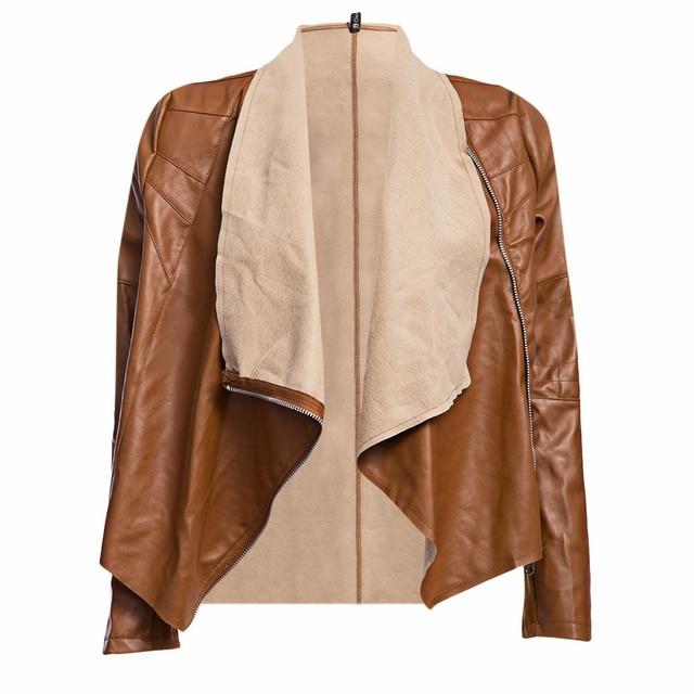 Женщины Искусственной Кожи Куртки Пальто Двойной Отложной Воротник Сплошной Цвет Молния Водонепроницаемый Пальто Стильный Ropa Mujer Одежда 2016