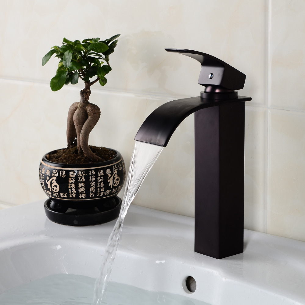 Bathroom Black Faucet Copper Oil Rubbed Bronze Waterfall Faucets Single Handle Single Hole Sink