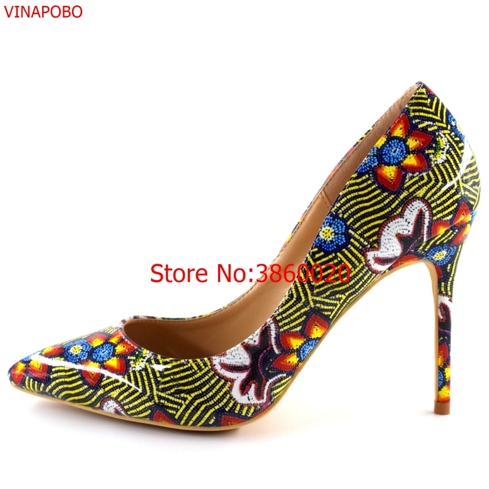 Spring high heels lady pumps patent letaher graffiti flowers print wedding shoes women sexy pointy toe