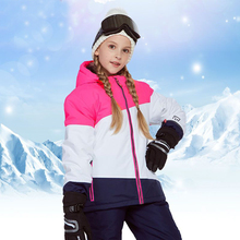 Girls Ski Suit Waterproof Winter Outdoor Sports Snowboard Jacket + Snow Pants Hooded Children Skiing Set Warm and Windproof