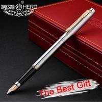Free Shipping Luxury Genuine Hero 200 Golden Clip 14K Nib Fountain Pen Office Executive Fast Writing Gift Pen