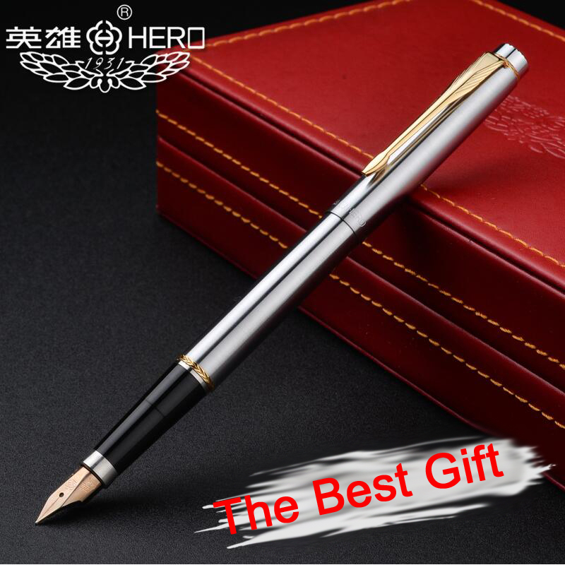 Luoshi Brand Nice Quality Genuine Hero 200 Golden Clip 14K Nib Fountain Pen Office Executive Fast Writing Gift Pen high quality monte mount snake clip f nib metal office gift fountain pen