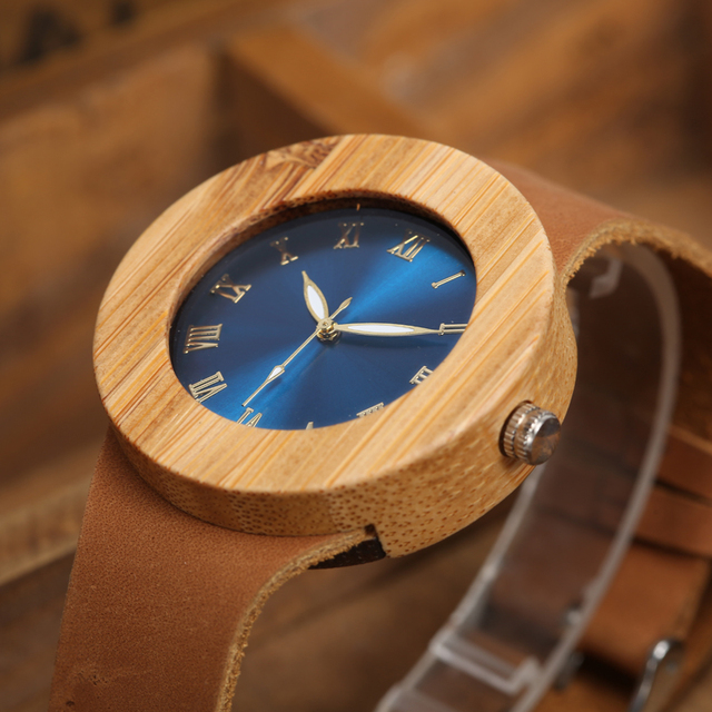2017 GORBEN Brand Fashion Bamboo Ladies Wooden Watches For Women Luxury Royal Blue Green Shining Dial Leather Top Womens Watches 2