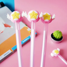 1 Pcs Cute Mocha Girl Sakura Star Wand Pen Signature Pen Star Wing Neutral Kawaii School Supplies Pen for Writing(China)