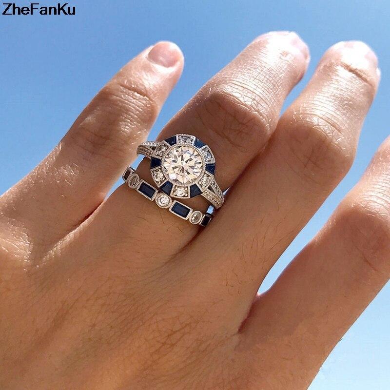 2 Teile/satz Zirkon Cz Stein Verlobung Hochzeit Ring Set Für Frauen Bague Bijoux Anillos VerrüCkter Preis