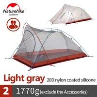 NatureHike Ul Шестерни 2 человек Сверхлегкий Палатка 20D нейлон силиконовые Fbric палатки для наружного Пеший Туризм best лагерь оборудование