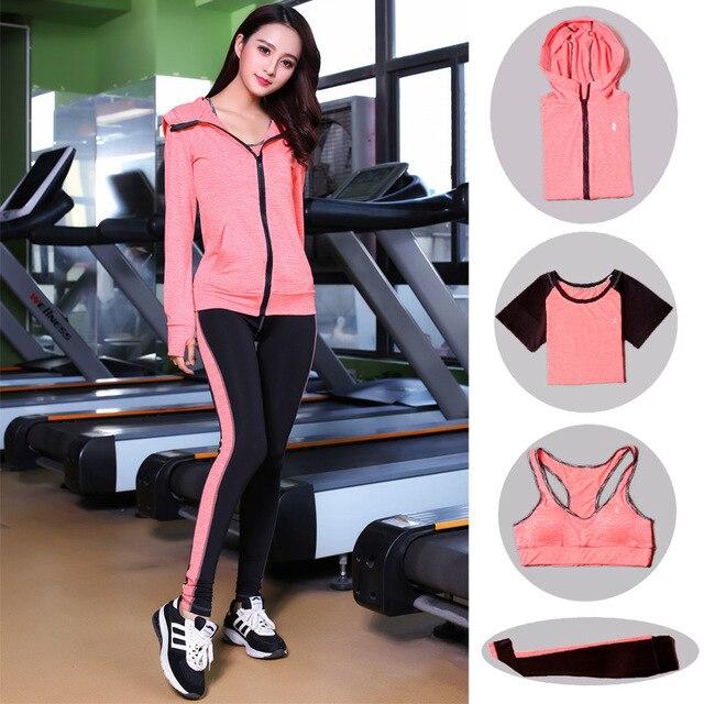 High Waist Pants + Hooded Coat + T-Shirt +Bra + Yoga Women's Pants 4 Pcs Set Outdoor Run Fast Dry Fitness Sports Gym Clothes Set 1