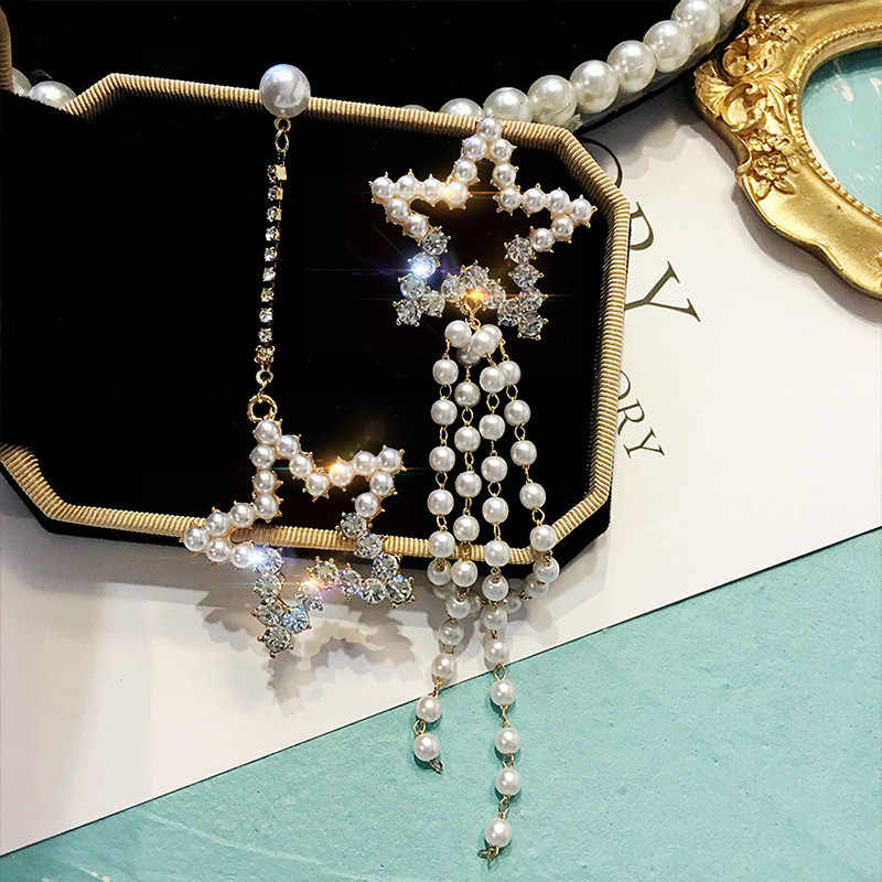 2019 New Arrival Simulated-pearl Hyperbole Geometric Women Dangle Earrings Korean Star Long Earrings  Eardrop Female Jewelry