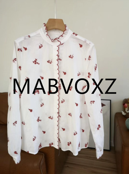 100 Cotton Women Shirts Long Sleeve Sweet Style French Embroidered flowers Wavy edge Loose Casual haut