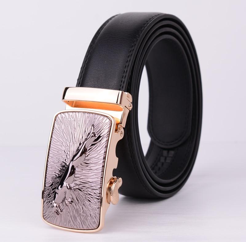 New Design Gold Jaguar Big Buckle Belts For Men Mens Belt Luxury Brand High Quality Genuine Leather Jeans  Plus Size 110-130cm