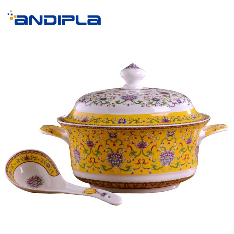 Jingdezhen Ceramic Tureens Luxurious Pattern Soup Pot with Lid Spoon Kit Big Dessert Bowl Container Tableware Dinnerware Decor
