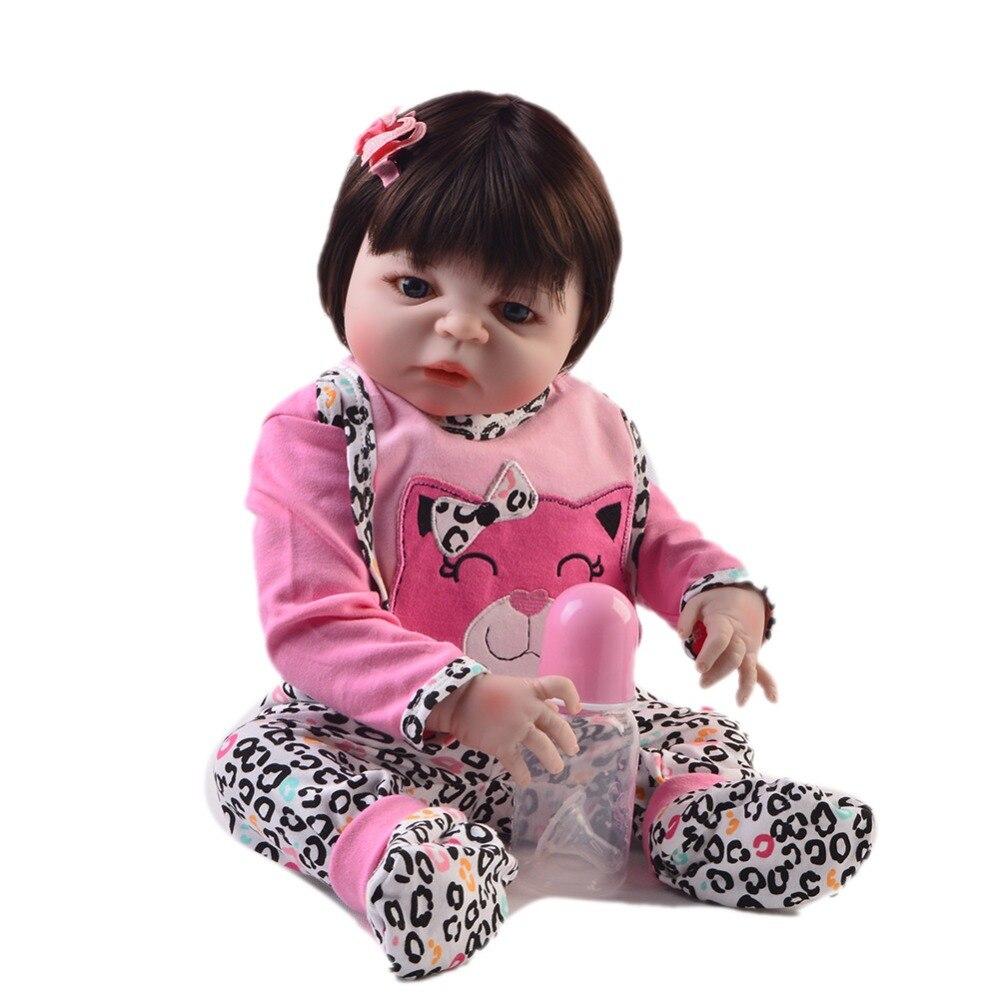 55 cm Silicone corps Reborn bébé poupée jouet comme réel 22 pouces nouveau-né fille princesse bébés poupée bain jouet enfant cadeau bebe poupée - 4
