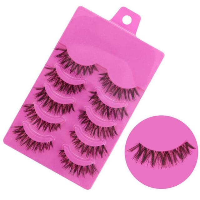 Hot Sale 5 Pairs Fake Eyelashes  Women's Fashion Cosmetic Handmade Messy Natural Cross False Eyelashes Perfect Eye Lashes Makeup Beauty Essentials