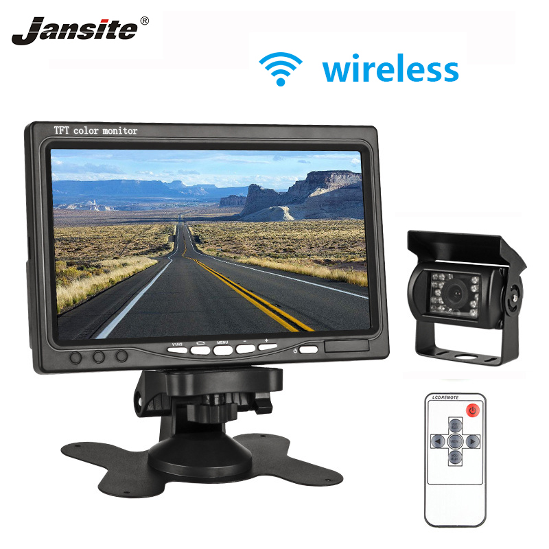 Jansite 7inches TFT LCD Wireless and Wired Car Rearview Monitor Display Reverse Assistance font b Camera
