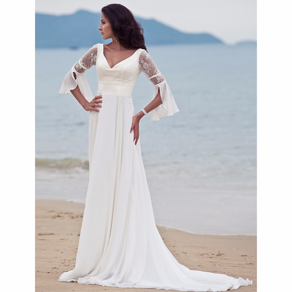 LAN TING BRIDE Backless A Line Beach Wedding Dress V neck 3/4 sleeve ...
