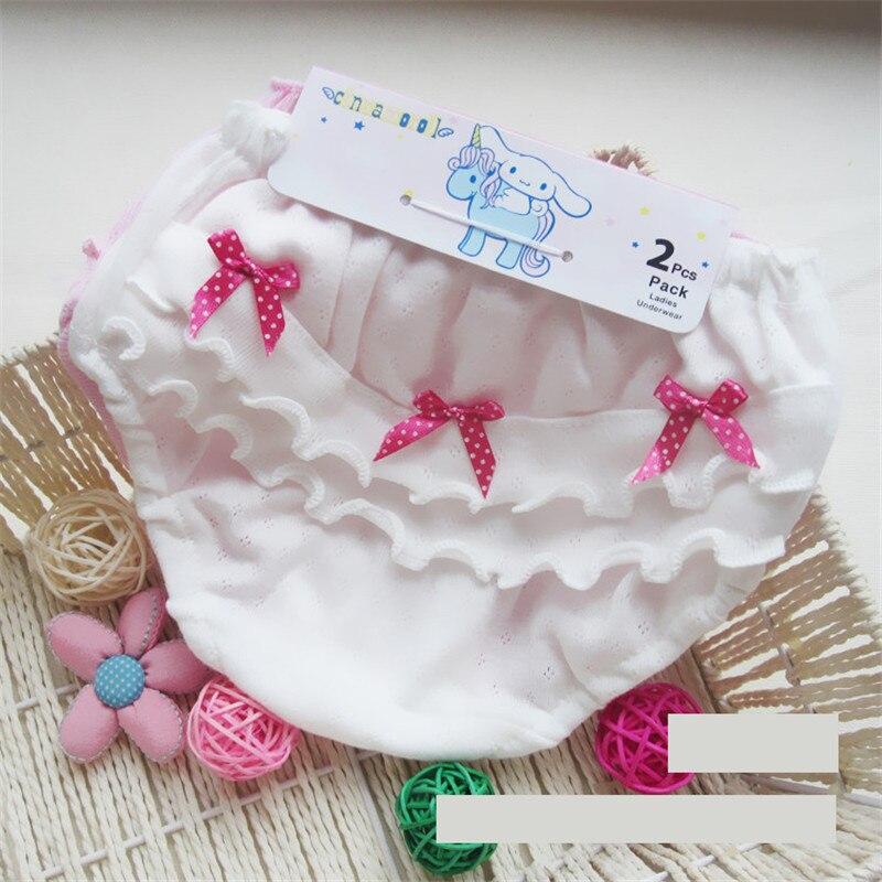 Sous-vêtements en coton rose et blanc pour bébés filles | Sous-vêtements pour petites filles de 0-2 ans, avec nœud d'oreille en bois, sous-vêtements pour petites filles