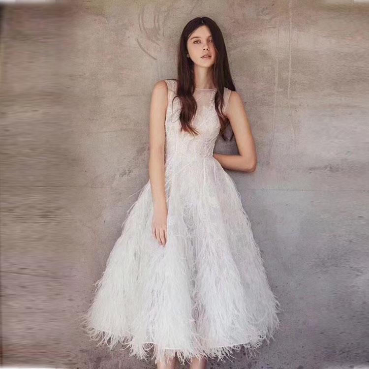 new one piece women lace dress fashion party backless feathers Sweet midi dress