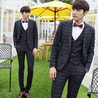 ( Jacket + Vest + Pants ) Spring New Men's Casual Three piece Suit Business Fashion Plaid Black Slim Suit Coat Photo clothing