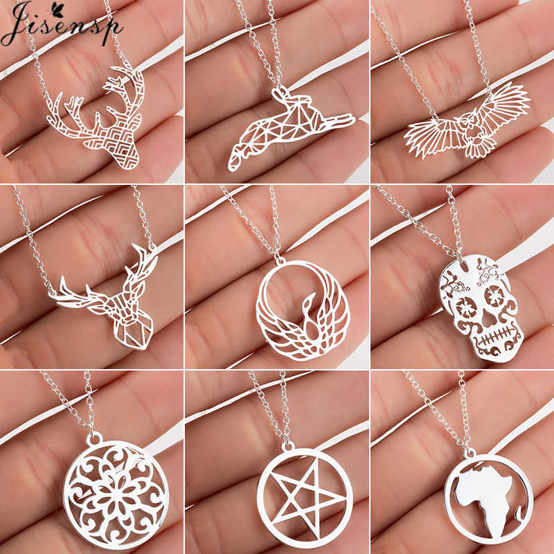 Jisensp Stainless Steel Deer Rabbit Pendant Necklace Women Boho Jewelry Cute Star Moon Chain Necklaces Collier Femme Wholesale