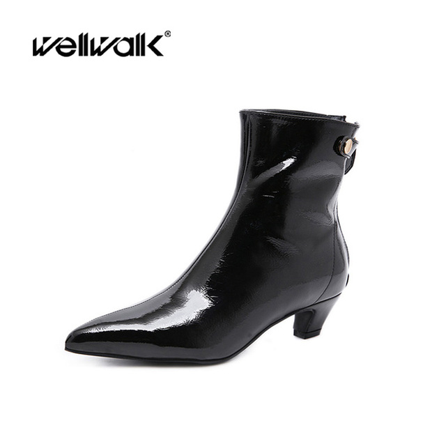 759ee1776dc6 Pointed Toe Dress Boots Women Winter Ankle Boots Fashion Patent Botas Mujer  Zipper Small Heel Booties Lady Black Boot