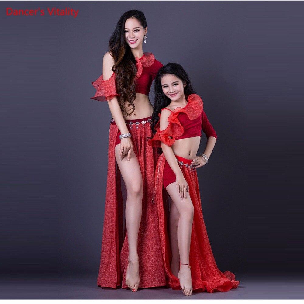 New Belly Dance Clothes Sexy Top Long Skirt short skirt 3pcs Belly Dance Set For Women