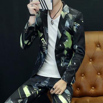 Męska kurtka jesienna kurtka garnitur męski dorywczo osobisty nadruk garnitur Trend koreańska wersja garnituru przystojny mężczyzna dwuczęściowy tanie i dobre opinie Garnitury Poliester REGULAR Pojedyncze piersi Plisowana Przycisk fly Luźne Smart Casual suit 0564 longqibao