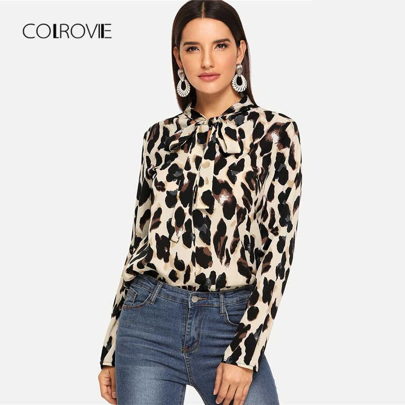b67b386bd36f4 COLROVIE Leopard Print Tied Neck Elegant Blouse Women 2018 Autumn Long  Sleeve Vintage Shirts Office Ladies