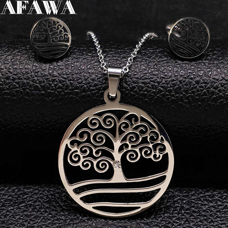 2019 Fashion Tree of life Stainless Steel Necklace Earrings Set Silver Color Jewelry Set Women Jewellery joias feminina S178325