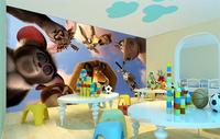 Custom 3d Photo Wallpaper Kids Baby Room Mural Cartoon Animal World HD Photo Painting Room Background