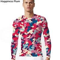 Armia kamuflaż T-shirt Mody 3d Drukuj Tshirt Lycra T Koszula Mężczyzn czerwony Mężczyźni Z Długim Rękawem Sexy Wojskowych Koszule Lato Slim Top Tee