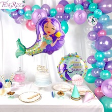 FENGRISE Latex Foil Mermaid Balloons Happy Birthday Party Baloons Ballons Decoration Wedding