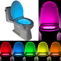 Sensor de pir motion sensor rgb luz do banheiro 8 cores automático assento do vaso sanitário bacia do banheiro luz da noite