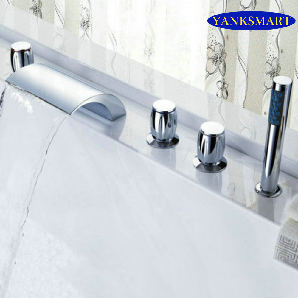 Waterfall Bathroom Basin Faucet Deck Mounted  washbasin bathroom tap 5 Pcs Set flush cold and hot water Mixer Taps fapully bathroom waterfall basin faucet deck mounted automatic hands touch sensor water faucet waterfall sink tap