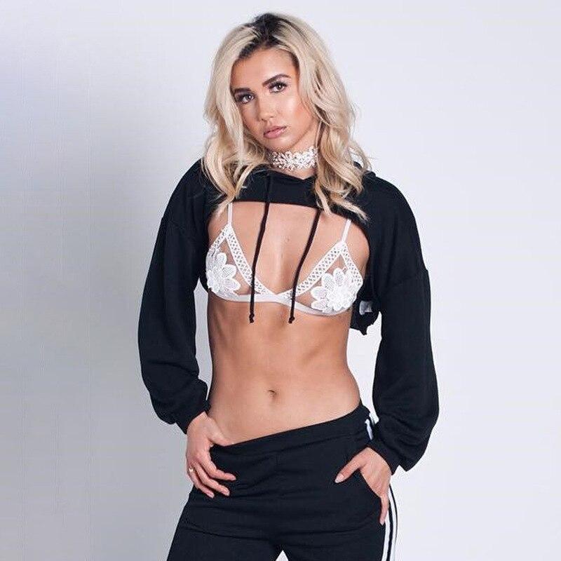 Women Hoodies Sweatshirt Womens Hooded Sweatshirts Mujer Femme Casual Outerwear Sexy Crop Top Girl Long Sleeve Short Hoodie 2018
