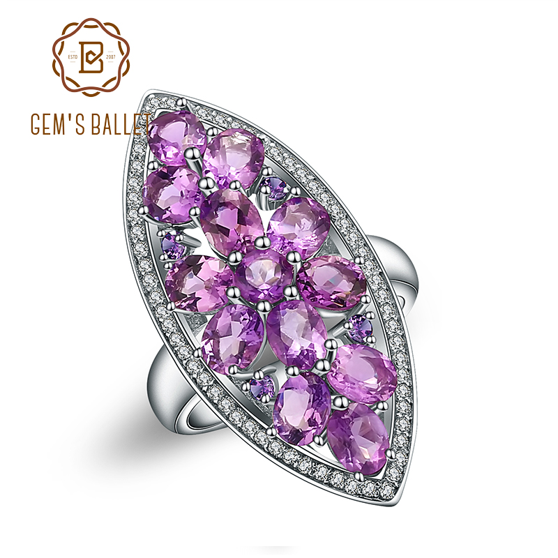 Gem s Ballet 5 64Ct Natural Amethyst Gemstone Engagement Ring For Women 925 Sterling Silver Marquise