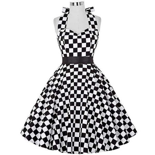 Sexy Halter Party Dress Retro Polka Dot Hepburn Vintage 50s 60s Pin Up Rockabilly Dresses Robe Plus Size Elegant Midi Dress