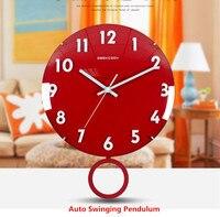 Swing Wall Clock Modern Brief 3D Frameless Wall Clock Living Room Bedroom Mute Wood Quartz Red/White Hanging Clocks 14 inch