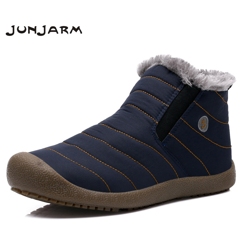 JUNJARM 2017 High Quality Autumn Winter Men Snow Boots Fashion Men Ankle Boots Warm Cotton Shoes Slip On Brand Men Winter Boots