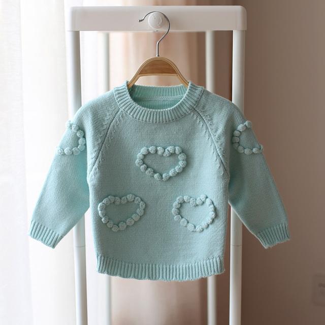 Primavera y otoño suéter suéter infantil del niño del bebé niñas niños amor caramelo de color sólido que basa el suéter