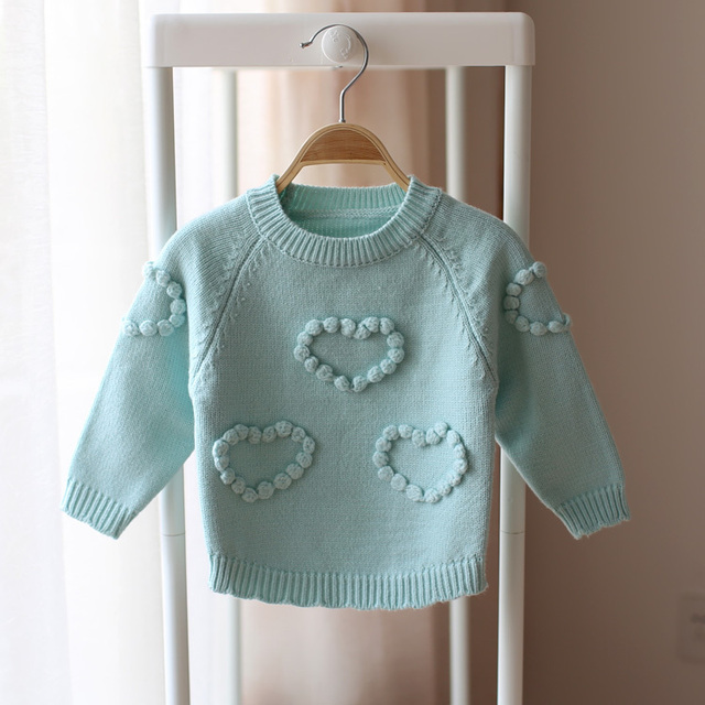Spring and autumn child infant baby sweater pullover sweater girls children love candy solid color  bottoming sweater