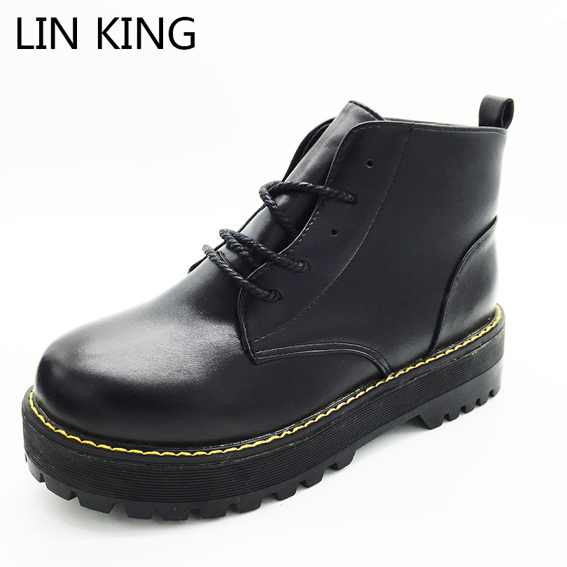 LIN KING Solid Low Heel Women Boots Fashion Pu Lace Up Ankle Shoes Vintage Round Toe Martin Boots Outdoor Army Combat Boots lin king women casual shoes leisure lace up wedge shoes fashion low top massage ankle shoes solid massage outdoor single shoes