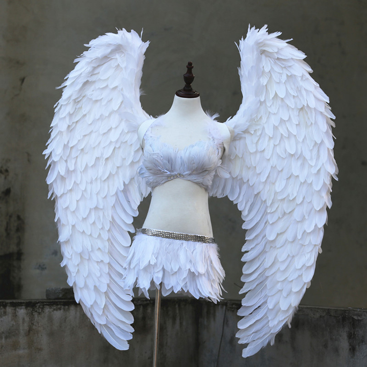 Custome grey white angel demon wings Adults High Quality Devil Wings studio photography Model Party decorations COSPLAY props