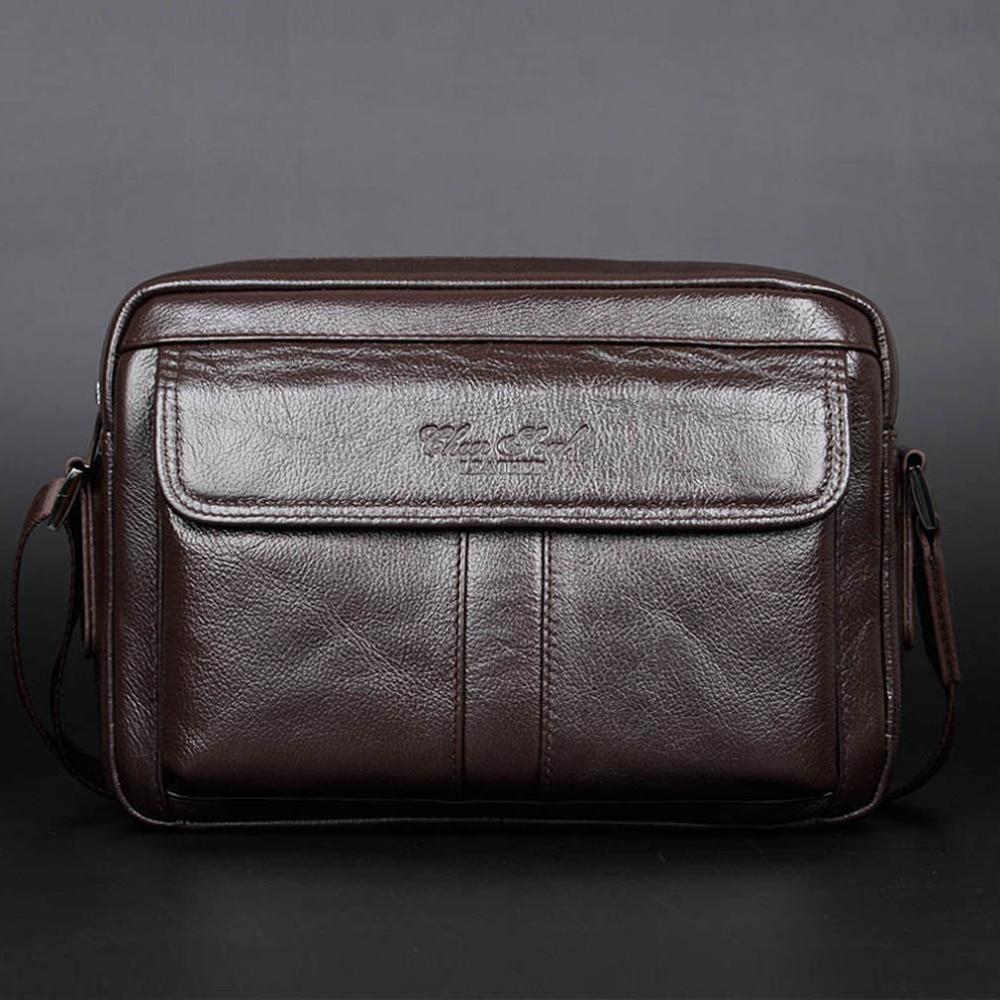 New Men Business Casual Genuine Leather First layer Cowhide Messenger Shoulder Satchel Tablet Bag