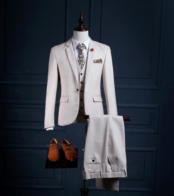 Alta Qualidade Do Noivo Smoking Dos Homens Ternos Para Casamento Guarnição Fit ternos do noivo smoking do casamento dos homens (Jacket + Pants + colete) ternos formais