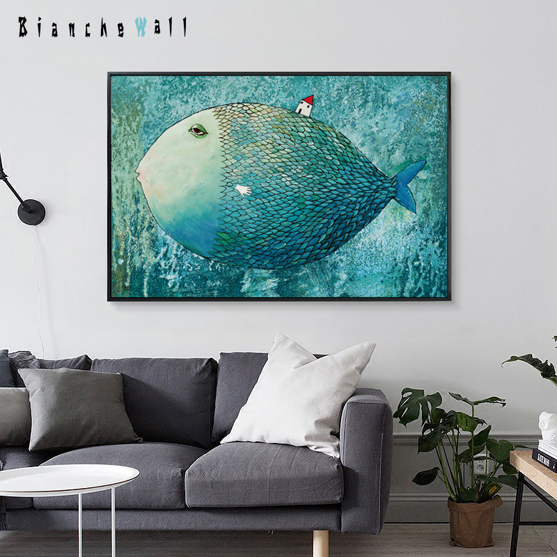 Elegant poesi Modern Cartoon Nordic Big Fish Small House Canvas målning Konsttryck Poster Bild Hemdekoration Väggdekor