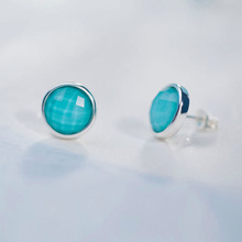 SA SILVERAGE 2017 Women Round Vintage Earrings Real 925 Sterling Silver Blue Gemstone Stud Earrings for Women Fine Jewelry