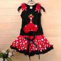 hot sale christmas Baby Clothing Set Baby Girl Christmas dress Set ,black vest + red tutu skirt