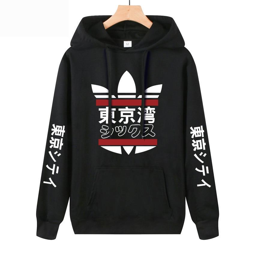 2019 Japanese Harajuku Hoodie Tokyo Bay Print Fashion Casual Sudades Para Hombre Thin Tracksuit Sweatshirts Free Shipping